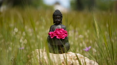 Buddha figurine with red flowers in the middle of green meadow Stock Footage