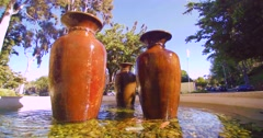 3 Giant Urn Style Fountains Stock Footage