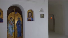Christmas in Svyatogorsk Church of Sts Anthony and Theodosius Inside the Chalk Stock Footage