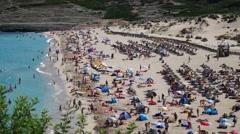 Cala Mesquida Mallorca Majorca: Closest plan of busy beach landscape Stock Footage