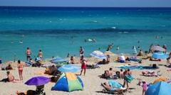 Cala Mesquida Mallorca Majorca: Beach with families Stock Footage