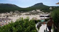 Cala Mesquida Mallorca Majorca: Wooden walkway to beach Stock Footage