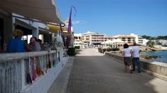 Cala Ratjada Mallorca Majorca: Promenade near Mamma Pizza restaurant Stock Footage