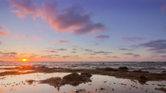 4k Pan Timelapse Cloudy Sunset Atlantic Ocean view at Dar Bouazza beach, Casabla Stock Footage