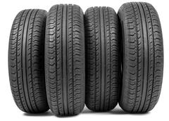 Complete set of new tyres for car - stock photo