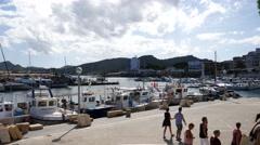 Cala Ratjada Mallorca Majorca: Boats in harbor area Stock Footage