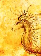 drawing of ornamental animal on old paper background  and sepia color structure - stock illustration
