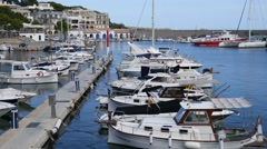 Cala Ratjada Mallorca Majorca: Docked boats in harbor Stock Footage