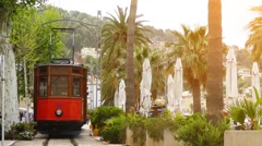 Tram to Soller in Port de Soller, Mallorca, Spain Stock Footage