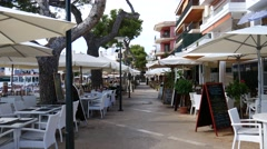 Cala Ratjada Mallorca Majorca: Empty restaurants and bars Stock Footage