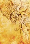 Drawing of ornamental animal on old paper background  and sepia color structure Stock Illustration