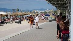 El Arenal Mallorca Majorca: Women walking on promenade Stock Footage