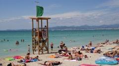 El Arenal Mallorca Majorca: Lifeguard tower on the beach Stock Footage