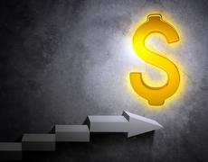 Stairs leading to golden dollar sign - stock illustration