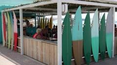 El Arenal Mallorca Majorca: Beach bar with surfboards Stock Footage