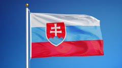Slovakia flag in slow motion seamlessly looped with alpha  Stock Footage