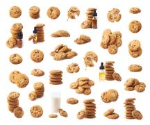 Multiple cookie compositions isolated Stock Photos