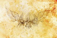 drawing of ornamental phoenix on old paper background  and sepia color structure - stock illustration