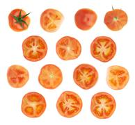 Tomato cross-section slice isolated Stock Photos