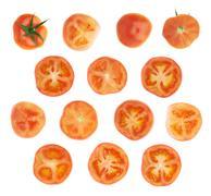Tomato cross-section slice isolated - stock photo