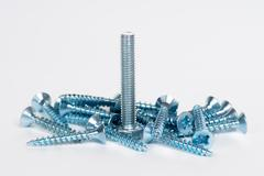 silver screws bolts - stock photo