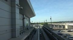 Train between terminals at Atlanta Airport Stock Footage