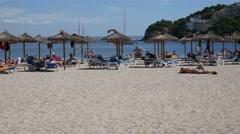 Palma Nova Mallorca Majorca: People on beach and in sea Stock Footage