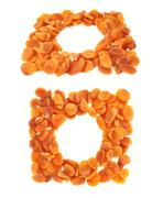 Dried orange apricots over white background Stock Photos