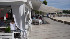 Palma Nova Mallorca Majorca: Stylish white beach restaurant - stock footage