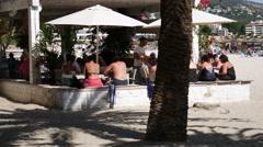 Palma Nova Mallorca Majorca: Beach restaurant Stock Footage