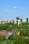Highrise and five-storey house in Zelenograd, Russia Stock Photos