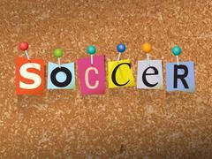 Soccer Concept Pinned Letters Illustration - stock illustration
