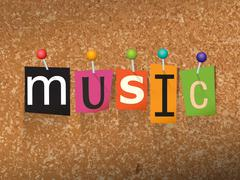 Music Concept Pinned Letters Illustration Stock Illustration