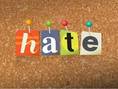 Hate Concept Pinned Letters Illustration Stock Illustration