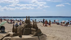 Playa de Palma Mallorca Majorca: Sand castle on the beach Stock Footage