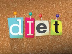 Diet Concept Pinned Letters Illustration - stock illustration