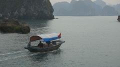 Boat trip in Halong Bay, Vietnam. Stock Footage