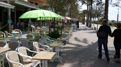 Playa de Palma Mallorca Majorca: Empty beach bar and restaurant Stock Footage