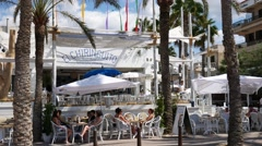 "Playa de Palma Mallorca Majorca: White beach bar ""El Chiringuito"" Stock Footage"