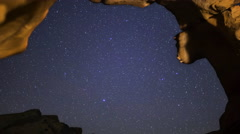 Astro Time Lapse of Stars over Arch Rock in Valley of Fire SP -Long Shot- Stock Footage