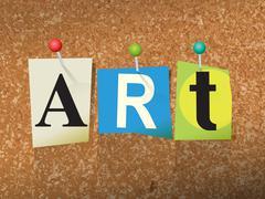 Art Concept Pinned Letters Illustration Stock Illustration