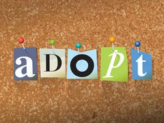 Adopt Concept Pinned Letters Illustration - stock illustration