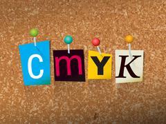 CMYK Concept Pinned Letters Illustration - stock illustration