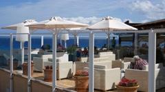 Cala Mesquida Mallorca Majorca: White classy bar and restaurant - stock footage