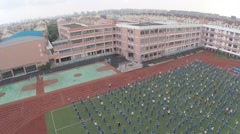 Aerial Drone footage Shanghai High School and students Stock Footage