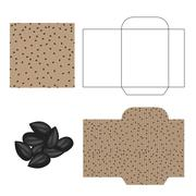 Sunflower seeds packaging design kit. Recycled paper pack Piirros