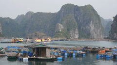 Floating village in Halong Bay, Vietnam. Stock Footage