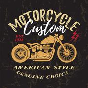 Custom Motorcycle Print. Stock Illustration