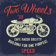 Cafe Racer print design. - stock illustration