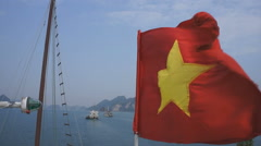 Flag, Halong Bay,Vietnam Stock Footage